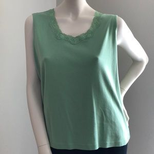 💚 Leafy Green & Lace Cotton Top